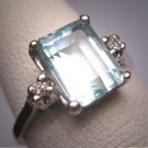 Antique Aquamarine Diamond Wedding Ring Vintage Art Deco Vintag