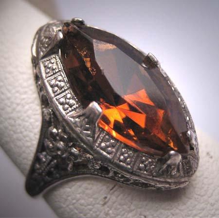 Antique Golden Topaz Ring Wedding Vintage Art Deco Filigree c1920