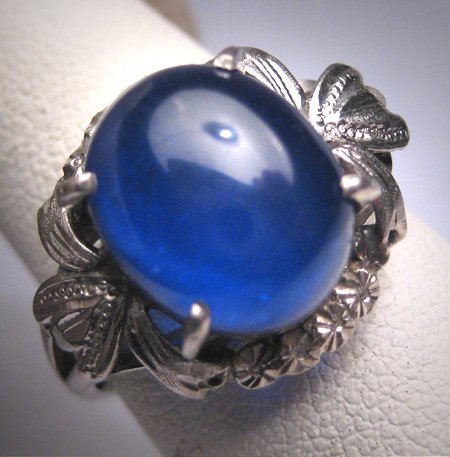 Antique Platinum Cabochon Sapphire Wedding Ring Vintage Art Deco 1930