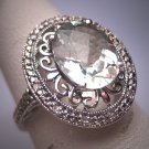 Vintage Green Amethyst Diamond Ring Wedding Art Deco Filigree