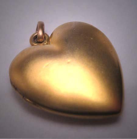 Antique Gold Locket Necklace Vintage Victorian Art Nouveau Heart Puffy
