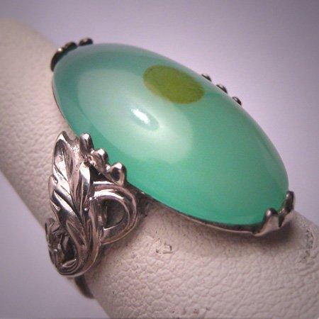 Vintage Australian Jade Ring Retro Art Nouveau Silver Setting c.1920