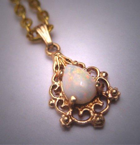Vintage Australian Opal Pendant Necklace Victorian Motif Filigree 14K