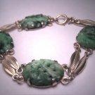 Antique Fine Jewelry Carved Jade Link Bracelet Silver Jadeite Vintage