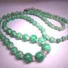 Antique 1920's Jade Art Glass and Cut Crystal Beaded Flapper Necklace