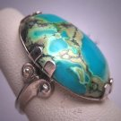 Antique Turquoise Ring Vintage Victorian Art Deco Silver c.1930