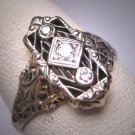 Antique Wedding Ring Old Cut Diamond 18K White Gold Filigree Art Deco Belais Style 1920