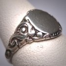 Antique Silver Signet Ring Vintage Victorian Art Deco c.1900 Chased Details Wedding Band