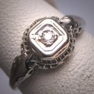 Antique Diamond Wedding Ring White Gold Filigree Setting c.1920 Engagement