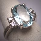 Antique Vintage Aquamarine Diamond Wedding Ring Art Deco H. Stern Styling 14K White Gold
