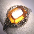 Antique Golden Citrine Ring Vintage Art Deco Wedding White Gold Floral 1920