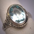 Vintage Aquamarine Diamond Ring Estate Art Deco Antique Wedding 1920