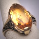 Antique Golden Canary Citrine Ring Victorian Art Deco Wedding c.1900 Engagement