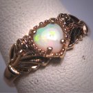Antique Heart Shape Australian Opal Ring Wedding Gold Victorian Retro Deco 50s