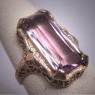 Antique Rose de France Amethyst Ring Victorian Art Deco Wedding c.1900 White Gold