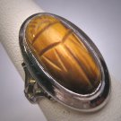 Antique Tigers Eye Scarab Ring Vintage Victorian Art Deco c.1900 - Egyptian Revival