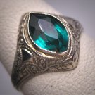 Antique Emerald Ring White Gold Art Deco Wedding Ostby Barton Titanic