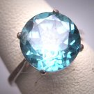 Vintage Blue Zircon Wedding Ring Vintage Art Deco Style Classic Solitaire