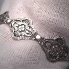 Vintage Floral Filigree Edwardian Art Deco Bracelet Sterling Silver c.1900 Wedding Bridal