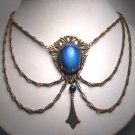 Antique Sapphire Paste Festoon Necklace Victorian Art Deco c.1900 Wedding Lavaliere