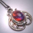 Antique Dragons Breath Opal Lavaliere Necklace Pearl Art Deco 1910