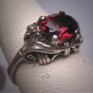 Antique Garnet Wedding Ring Vintage Victorian Filigree Floral Engagement
