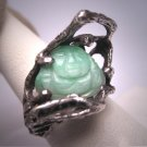 Amazing Vintage Jade Buddah Ring Antique Retro Modernist 1950s Jadeiete Green