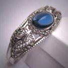 Antique Rhodium Sapphire Paste Bracelet Art Deco 1950's