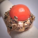 Antique Italian Coral Ring 14K Floral Setting Vintage Art Deco c.1930