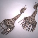 Antique Silver Earrings Oaxaca Mexican Vintage Art Deco 1930