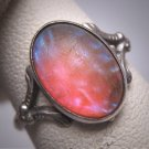 Antique Dragons Breath Opal Ring Victorian Art Deco Silver Filigree c.1900
