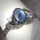 Vintage Star Sapphire Diamond Ring Palladium Antique Art Deco Wedding 1930