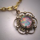 Antique Australian Opal Pendant Necklace Vintage Art Deco 1930 Gold