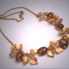 Antique Gold Stone Art Glass Necklace Vintage Art Deco Gold 1930