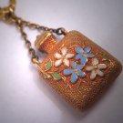 Antique 18K Gold Enameled Bottle Charm Necklace Vintage Victorian 19th Century Pendant