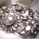 Rare Antique Georgian Large Rose Cut Diamond Brooch 1700's Silver Pre Victorian Pin