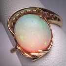 Antique Vintage Australian Opal Ring Gold Retro Art Deco Wedding