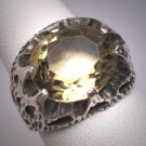 Antique Art Nouveau Canary Citrine Ring Vintage Wedding Deco Arts Crafts English Hallmarks 1909