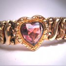 Antique Sweetheart Bracelet Vintage Heart Art Deco Gold Amethyst Paste