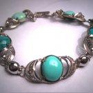 Antique Turquoise Bracelet Retro Art Deco Silver Filigree Vintage