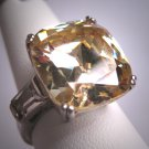 Vintage Lab Large Canary Diamond Wedding Ring Engagement Retro Art Deco Style 50's