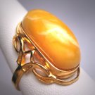 Antique Victorian Egg Yolk Amber Ring Vintage Art Nouveau Gold Setting