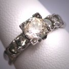 Antique White Sapphire Wedding Ring Vintage Art Deco 1930