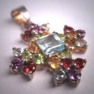Vintage Topaz Multi Gem Pendant for Necklace Garnet Peridot Citrine Amethyst
