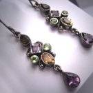 Vintage Victorian Revival Earrings Amethyst Peridot Citrine Gems Dangle Drop