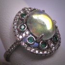 Vintage Moonstone Emearld Ring Retro Art Deco Wedding