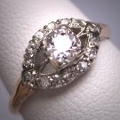 Antique Wedding Ring Old Euro Diamond Vintage Art Deco 18K White Gold .50ct c.1920