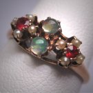 Antique Victorian Opal Ruby Seed Pearl Wedding Ring Rose Gold Band
