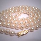 Long Vintage Mikimoto Pearl Necklace 14K 23inch Akoya Signed 6mm