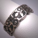 Antique Art Deco Wedding Band Ring Vintage Floral 20s